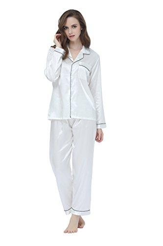 Damen Schlafanzüge Lang Satin Lang Pyjama Set Nachtwäsche von TONY & CANDICE (M, Weiß) (Schwarze Satin-hose)