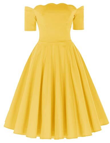 Swing Dress for Women elegant Partykleid gelb ballkleid Knielang Größe XL BP890-8 (Frauen Belle-kleid Für)
