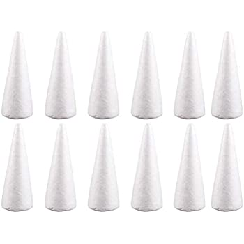 5pc Cone Shaped Styrofoam Foam Ornaments for DIY Modelling Craft Party Favor