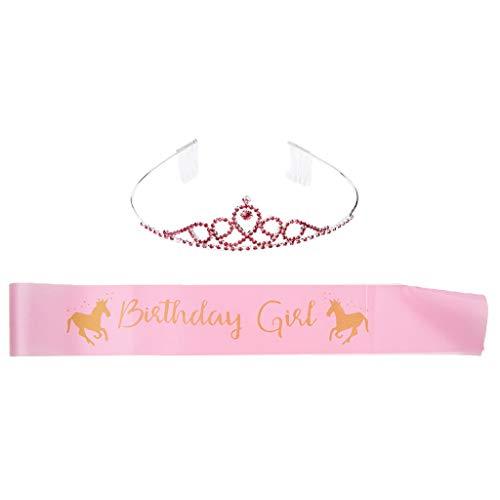 Girl '' Schärpe + Prinzessin Krone Set für Mädchen Geburtstag ()