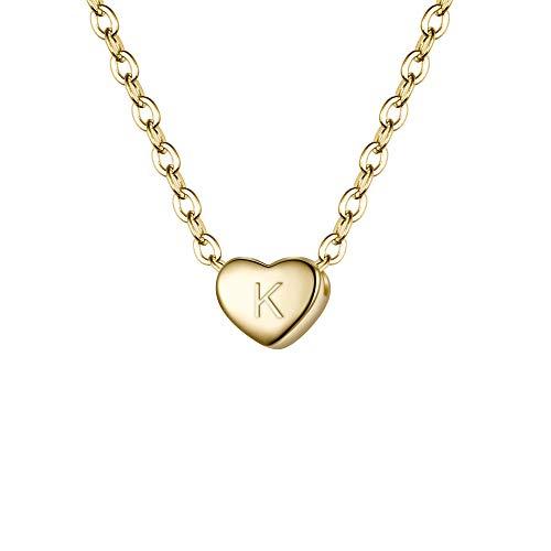 Clearine Damen Choker Halskette 925 Sterling Silber mit Buchstabe A-Z kleine Initial Herz Anhänger Kette Halsband Buchstabe K 14K Gold-Ton - Silber-gold-ton