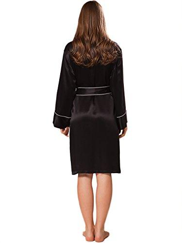 Ellesilk Silky Short Robe de femmes Noir / blanc