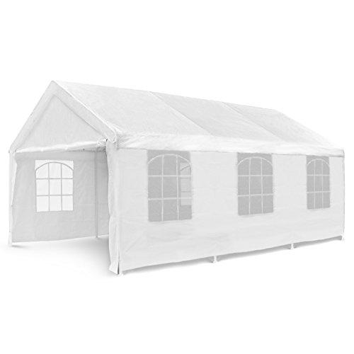 Nexos Hochwertiges Festzelt Partyzelt Pavillon 4x6 m weiß mit Seitenteilen...