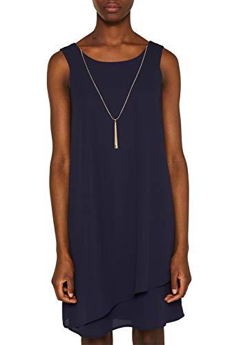 ESPRIT Collection Damen 049EO1E012 Kleid, Blau (Navy 400), Herstellergröße: 38