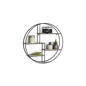 LIFA LIVING Rundes Wandregal modern aus Holz und schwarzem Metall, Gewürzregal im Industrie Design, Küchenregal mit 4 Böden, Wanddeko Ø 55 cm x 11 cm