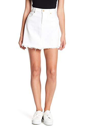 7 For All Mankind Womens High-Waist Denim Skirt Whites