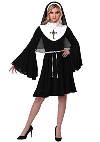 GGT Boutique Kostüm Nonne, sexy Schwarz/Weiß