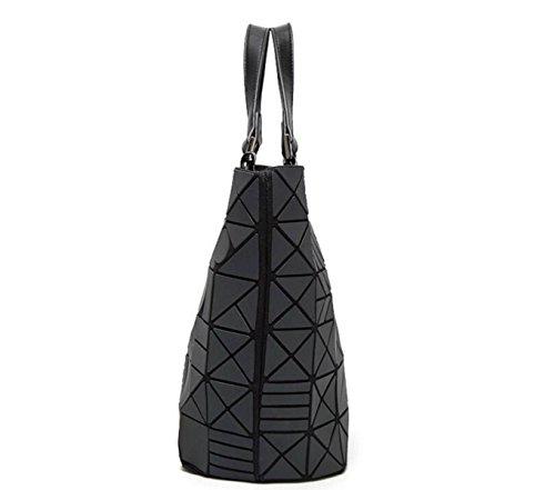 Geometrische Unregelmäßige Faltende Handtasche Leuchtende Eimer-Beutel-Schulter-Kurier-Beutel Black