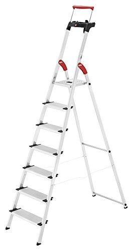 Hailo ComfortLine XXR, Alu-Haushaltsleiter, 7 XXL-Stufen, EasyClix, Ablageschale, ausziehbarer Haltebügel, bis 150 kg, made in Germany, 8030-707