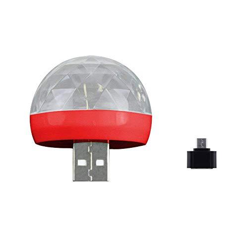Saingace(TM) Mini Discokugel Licht USB Phone Ball Lampe Party Licht Partybeleuchtung Sprachsteuerte Partylicht LED Lichteffekt Mini DJ Balls Licht für Parties Kinder Geburtstag Club (Rot)