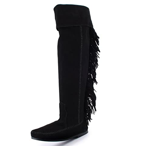 Minnetonka Over The Knee Womens Zip Suede High Boots Black - 4