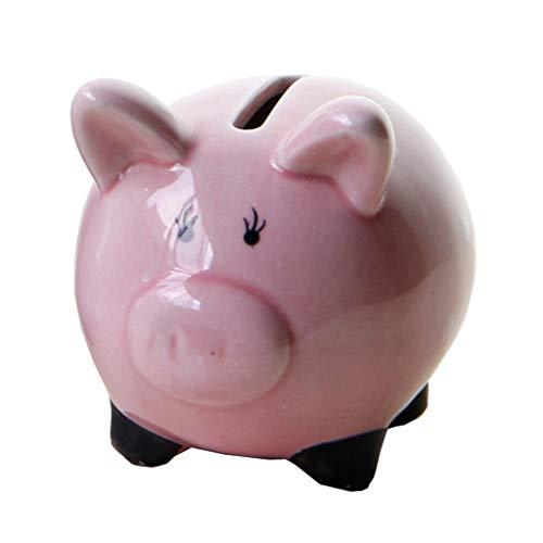 LOVIVER Tirelire Originale Tirelire à Casser Boîte de Pièces Money Box en Céramique - Rose, Cochon