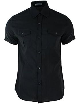 B-Men Camicia Estiva da Uomo in Lino Beige Nero Blu o Bianco a Bottoni e Maniche Corte