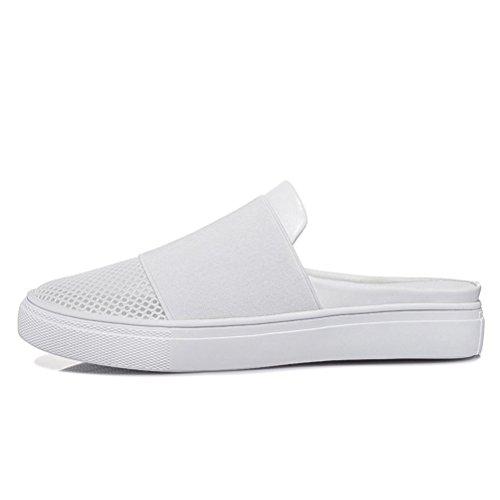 Modische Bequeme Sommer Damen Kühle Sandalen Dicke Sohle Keilabsatz Einfache Slip-on Atmungsaktive Mesh Zehen Textil Slippers Weiß