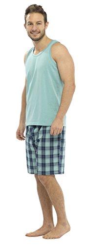 Strong Souls Herren Schlafanzug-Set 2-teilig, Muskelshirt + Shorts, für Herren / Jungen, kurzer Pyjama, erhältlich in Gr. S–XXL Gr. Small, Blue Top with Blue Check Pattern Shorts (Short Set Check Pyjama)