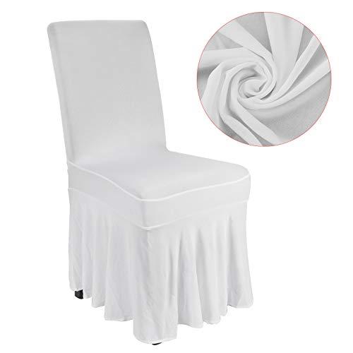 JUEYAN Stuhlhussen Stuhlhusse Stretch Stuhlüberzug Stuhlbezug Weiß Faltenrock Lang für Hochzeiten...