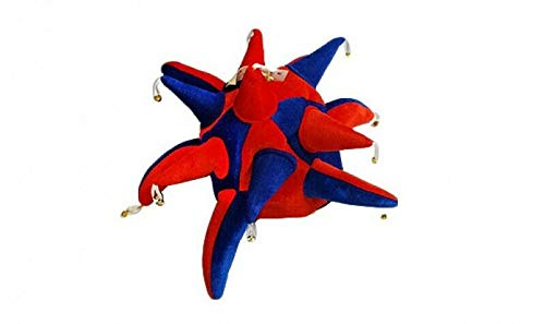 Bilder Kostüm Jester - Flagmania® Red und Royal Blue Supporters Jester Hut - Fancy Dress + 59 mm Button