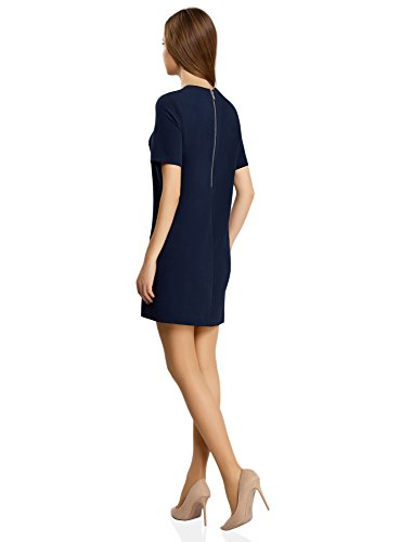 oodji Collection Femme Robe Unie Coupe Droite Bleu (7900N)