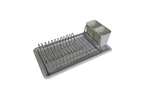 homiso–Kompakt chrom Metall Küche Abtropfgestell Trocknen Rack mit Weiß Kunststoff Tablett (Edelstahl-wandhalterung Sink)