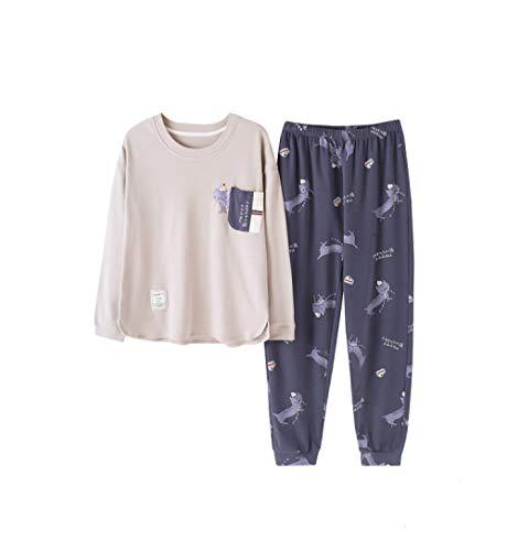 Pigiami due pezzi,pigiama anime per donna pigiama in cotone pj set rosa manica lunga-pantaloni da notte blu servizio moda casa casual 3xl