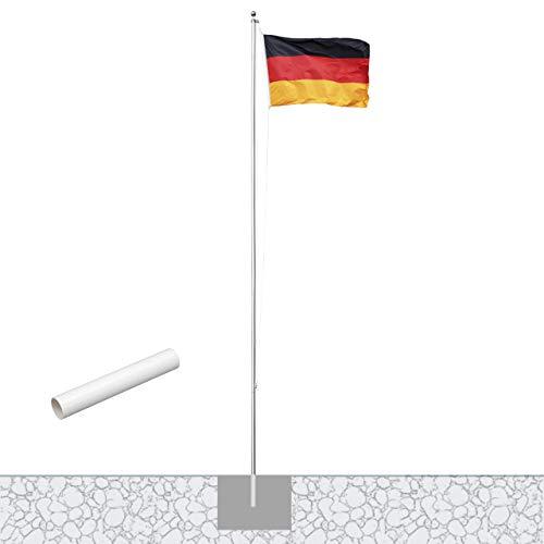 Vispronet® Alu-Fahnenmast 6,20 m/ø 50 mm mit Kunststoffbodenhülse & Deutschlandfahne im Komplettset
