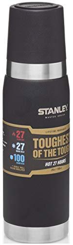 Stanley Master Series Vakuum-Thermosflasche, 0.75 Liter, Schwarz, 18/8 Stainless Edelstahl, 27 Stunden heiß / kalt, Doppelwandige Isolierung, Isolierflasche -