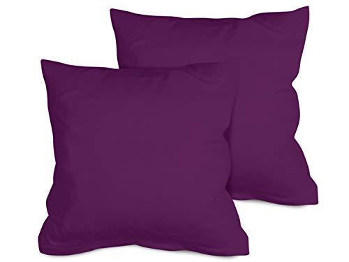 npluseins 2er Pack Kissenbezug oder 1 Set Bettwäsche - Jersey Baumwolle 552.676, 40 x 40 cm, lila