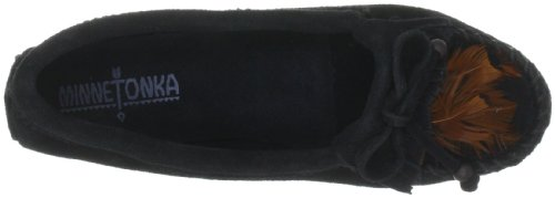 Minnetonka Feather Moc 467 Damen Mokkassins Schwarz (Black)