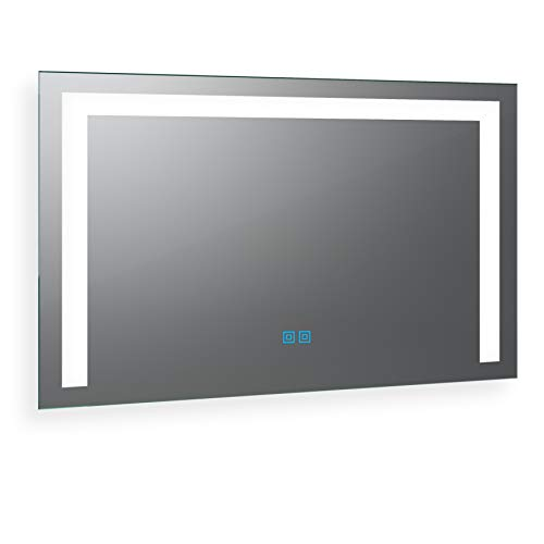 Spiegel ID Arezzo Design: LED BADSPIEGEL mit Beleuchtung - nach Wunschmaß - Made in Germany - Auswahl: (Breite) 140 cm x (Höhe) 70 cm - warm und kaltweiß inkl Doppel Touch Sensor - Modell: 2202501 -