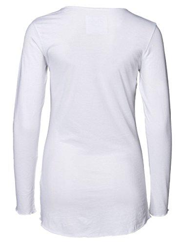 DAILY'S KEILA Damen Langarmshirt mit Überlänge und Rundhalsausschnitt aus Bio-Baumwolle - soziale fair trade Kleidung, Mode vegan und nachhaltig Color white, Size S - 2