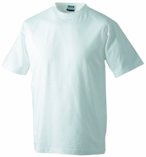 James & Nicholson Herren Round-T-Heavy T-Shirt, Weiß (White), Medium