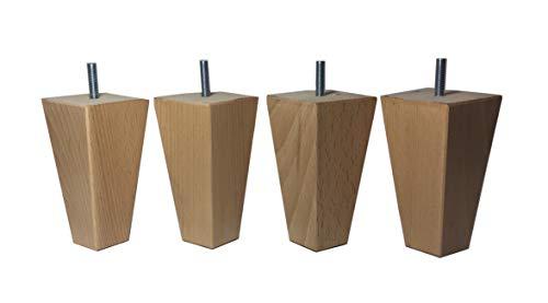 Pack de 4 patas de madera maciza de haya de gran calidad y diseño, cambia el estilo de tus muebles mesas sofás camas somier con nuevas piernas para elevarlos suficientemente para pasar el robot aspirador o proteger tus muebles de la corrosión o la hu...
