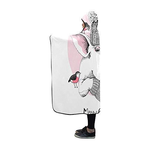 JSXMNA Mit Kapuze Decke Weihnachtskarte Porträt Schwein Strickmütze Decke 60 x 50 Zoll Comfotable Mit Kapuze werfen Wrap