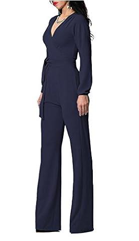 Smile YKK Combinaison Pantalon Femme Jumpsuit Ensemble One Pièce Col V Large Jambe Casual Royal Bleu Bust 90cm