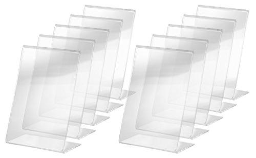 Sigel ta214 porta-avvisi da tavolo / porta-brochure da banco, con base a l, acrilico, per a6, 10 pz.