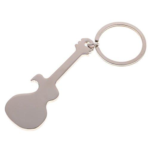 Welim - Abridor de música para guitarra (metal, para guitarra, llavero, abridor creativo, cómodo de usar y duradero), color plateado