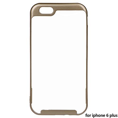 """Housse pour iPhone 6 Plus/ 6S Plus, xhorizon TM MLK Housse Fine 2 en 1 Transparent Prise Renforcée Coussin pour iPhone 6 Plus/ iPhone 6S Plus [5.5""""] d'or +9H Glass Tempered Film"""