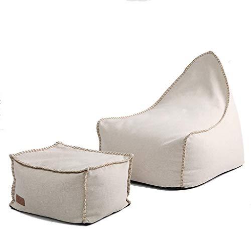 YXNN Sitzsack-Hocker-Kombination - Indoor Outdoor Lazy Sofa Erwachsenes Spiel Freizeit-Lounge-Stuhl Abbaubarer EPS-gefüllter Doppelreißverschluss Design 90x80cm (Farbe : Beige) (Outdoor-der Osmanischen Modernen)