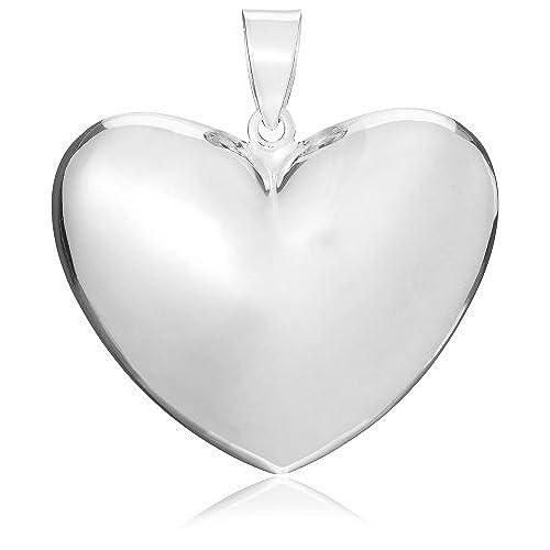 Large silver pendants amazon tuscany silver sterling silver large puffed heart pendant aloadofball Gallery