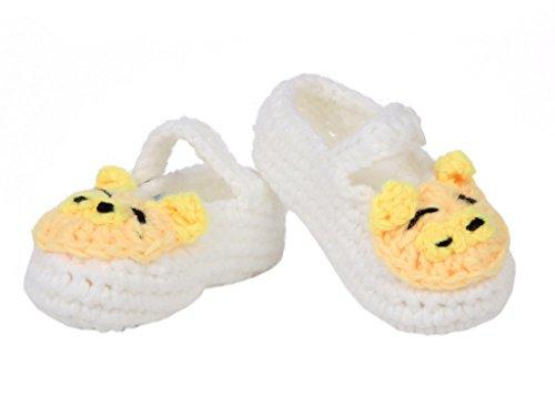 Smile YKK 1 Paar Strick Schuh Baby Unisex Strickschuh One Size süße Stil 11cm Schwein Form Weiss Weiss