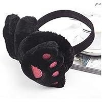 SUPRERHOUNG Bear Paw Orejeras Plegables Winter Outdoors Warm Plush Earwarmers para Adultos (Negro) (Color : Black, tamaño : 14cm)
