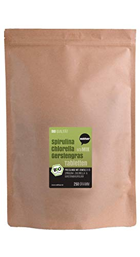 Wohltuer Spirulina + Chlorella + Gerstengras Bio Algen Superfood Mix Tabletten in Rohkostqualität...