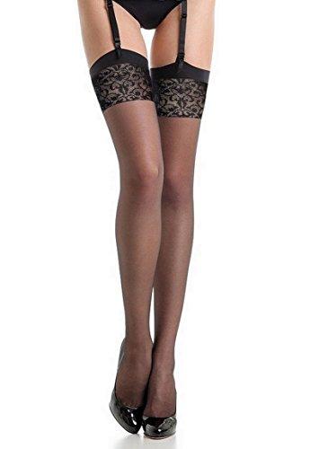 Fiore - Bas nylon noir à couture 20d pour Porte-Jarretelles