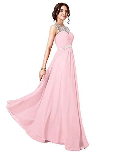 Aiyana Elegantes Chiffon Perlen Abendkleid formales Kleid Brautkleid Kleid Langes Prom Kleid Rosa