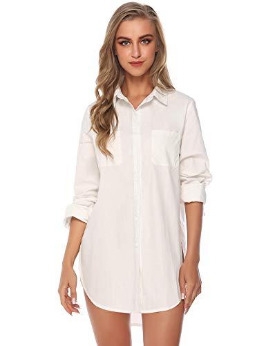 Abollria Damen Lange Bluse Baumwolle Button Down Hemd Oversize Langarmshirt für Freizeit