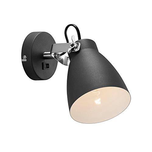 Nordlux LARGO Applique murale 1 ampoule E27 Hauteur 18 cm Profondeur 26 cm Abat-jour Ø 12 cm 25 W, noir Classe d'efficacité énergétique : A++ - D