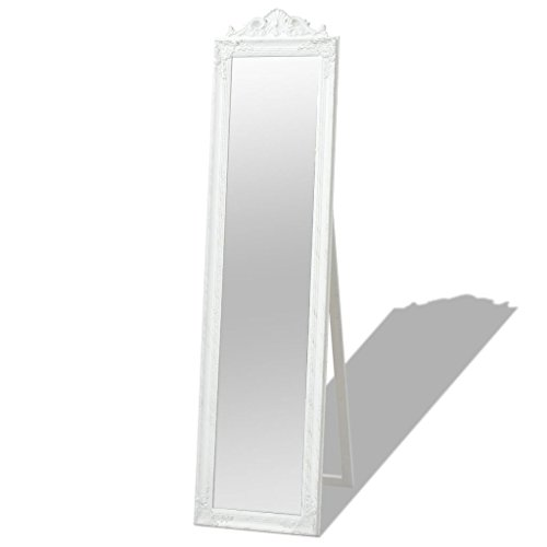 vidaXL Miroir sur pied Style baroque 160 x 40 cm Blanc