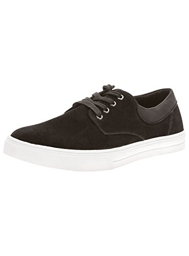 oodji Ultra Uomo Scarpe in Camoscio Artificiale con Finiture in Pelle Artificiale, Nero, 44 EU / 10 UK