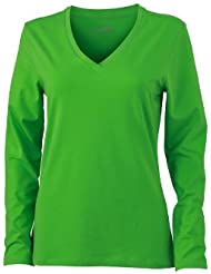 James & Nicholson Damen T-Shirt Langarmshirt Ladies Stretch V Shirt Long Sleeve
