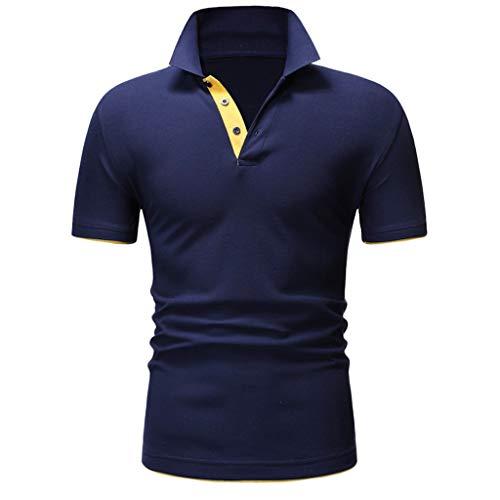 VANMO Herren Polohemd,2019 Neu Sommermode Herren Casual Stehkragen Knopf Kurzarm Top Bluse Stehkragen Einfarbig Freizeit Slim Fit Shirt Top Poloshirt